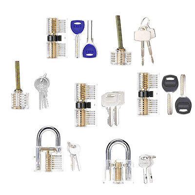 7pcs Cutaway Clear Transparent Locks With Keys Practice Training Kit