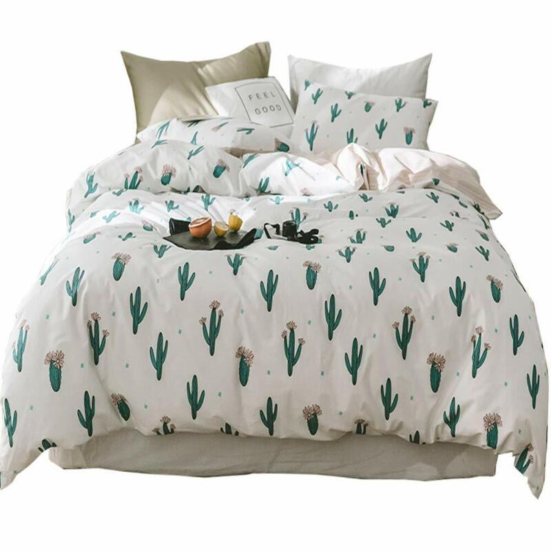 HIGHBUY Teen Girls Cactus Bedding Sets Twin Cotton Duvet Cover Twin White Comfor