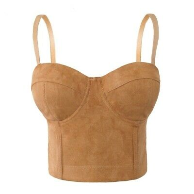 Women Bustier Bra Plus Size Faux Suede Leather Night Club Party Cropped Top Vest