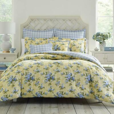 Laura Ashley Cassidy Bed Comforter Set Bedding Cotton Pastel Yellow Full/Queen  Laura Ashley Plaid Quilt