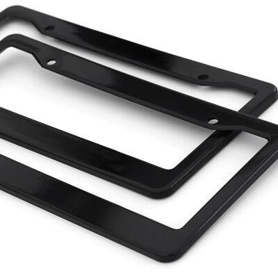 2pc OxGord Black Plastic License Plate Frame Tag Cover for Car SUV Van Truck - D