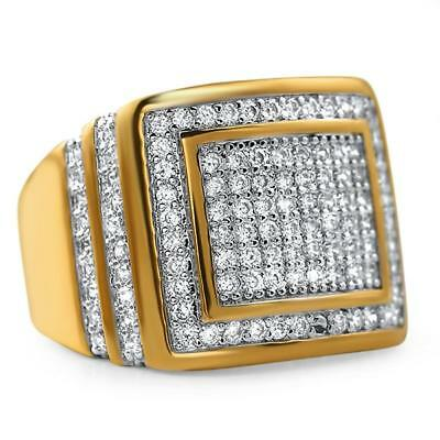 - Ice Chunk Baller Bling Gold CZ Hip Hop Mens Iced Out Ring