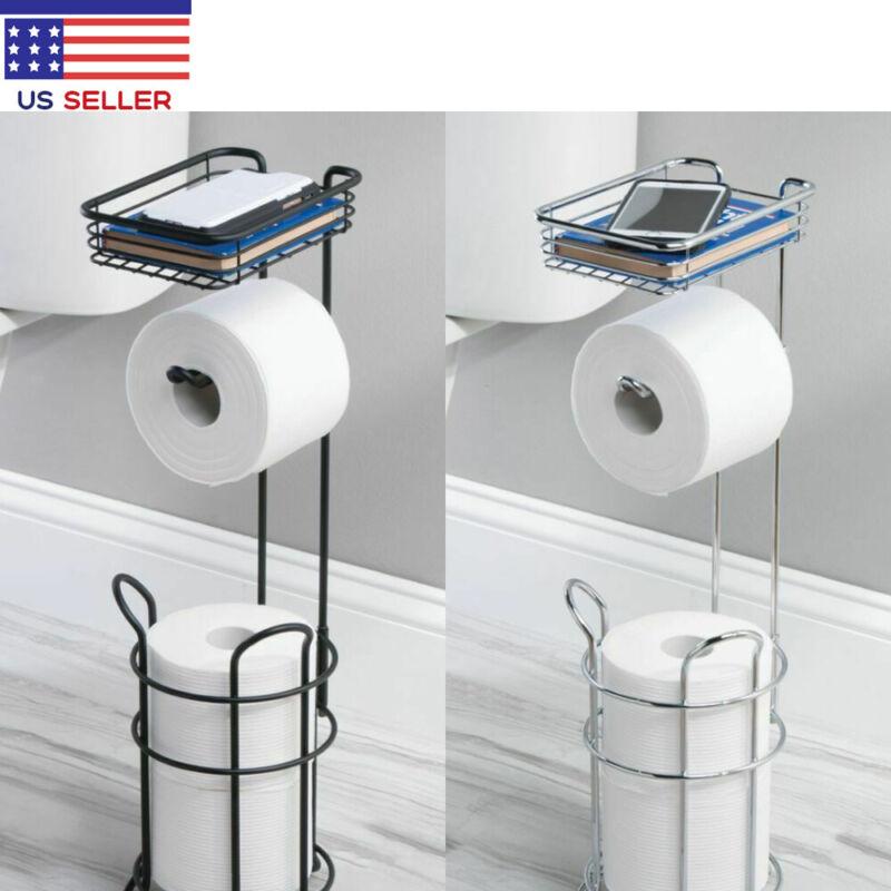 Metal Toilet Paper Holder Stand Bathroom Decor Tissue with Shelf Holder 3 Rolls