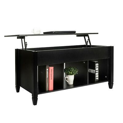 Lift-up Top Coffee Table w/Hidden Storage Compartment & Shelf Black 1