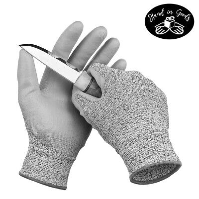 6 Pairs Cut Resistant Safety Gloves Level 5 Protection Pu Palm Coated