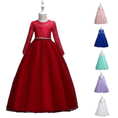 Girls Communion Dress Lace Kids Prom Pageant Ball Gown Evening Princess