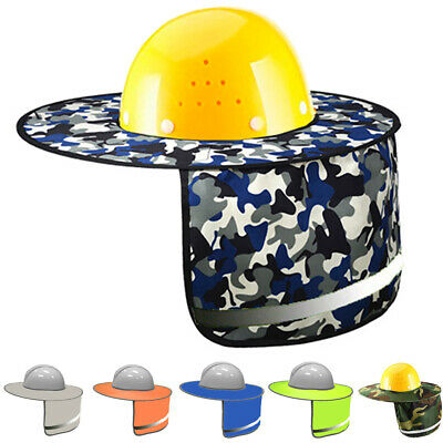 Safety Hard Hat Neck Shield Helmet Sun Shade Hi Vis Reflective Stripe