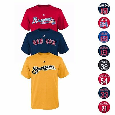 - MLB Majestic Player Name & Number Jersey T-Shirt Collection Youth Size (8-20)