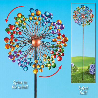 - Garden Double Spinner Decoration Lawn Rainbow Stake Spring Sparkle Windspinner