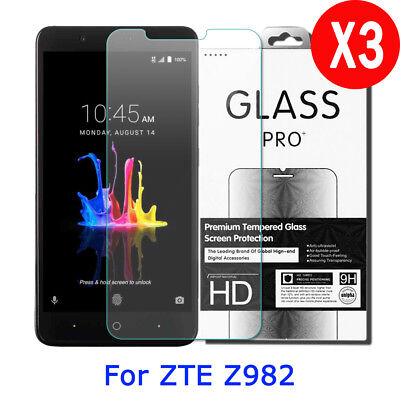 3X 9H Tempered Glass Screen Protector Film for ZTE Blade Z Max/Z982/ZMax Pro 2