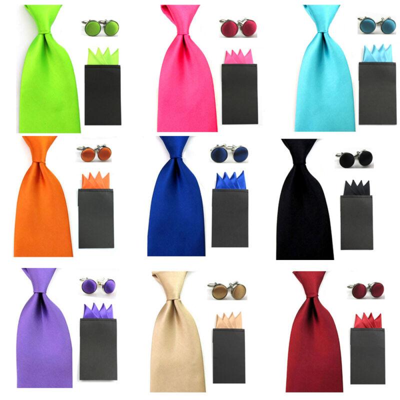 Men Satin Solid Color Wide 8cm Necktie 4 Point Pocket Square Hanky Cufflinks Set
