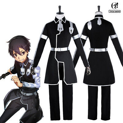 Sword Art Online Alicization Kirito Kirigaya Kazuto Outfit Cosplay Costume Black