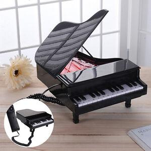 Novelty Classical Piano Home Phone Corded Telephone LED Flashing Landline-black