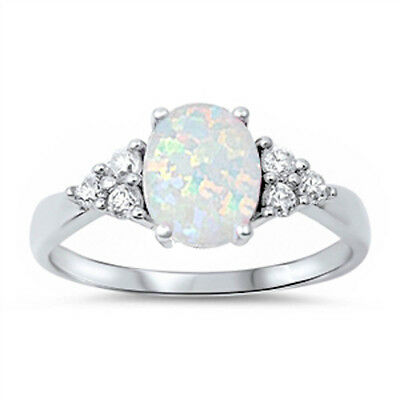 BEST SELLIING! Lab created White Opal & CZ .925 Sterling Silver Ring Size (Best Cz Rings)