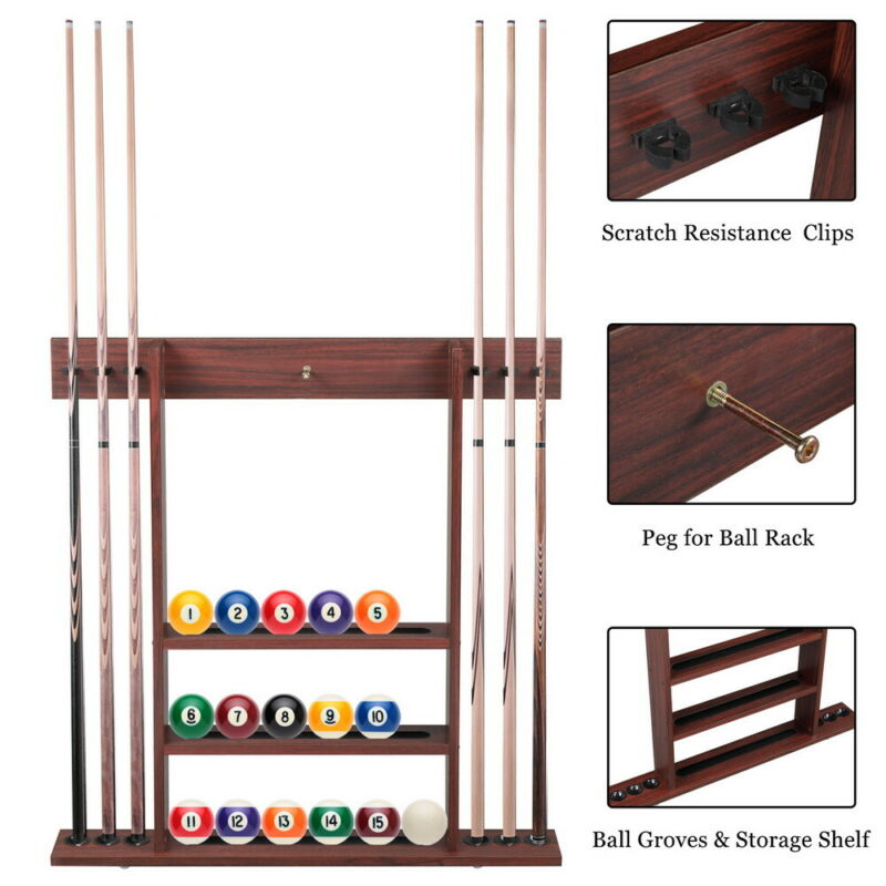 Only Cue Rack - 6 Pool Billiard Stick Clip Ball Set Wall Rack Holder Table Game