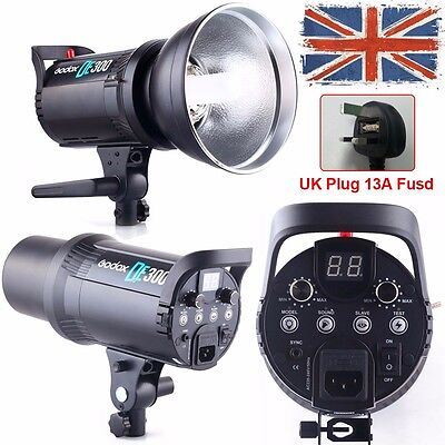UK Godox DE300 300W Photography Studio Strobe Flash Light Head + Bulb Reflector