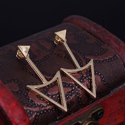Gold Stud Triangle Top - Golden Silver Color Geometric Triangle Ear Stud Earrings Women Accessories Top