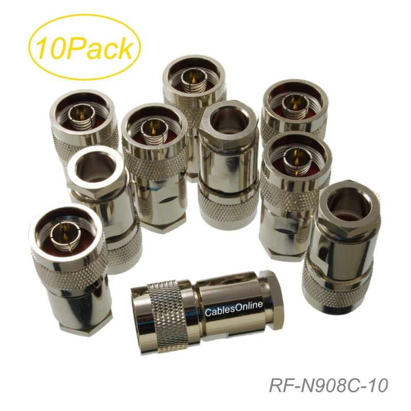 10-Pack N Male Clamp Type RF Connectors for RG8/RG213/LMR400 Coax Wire
