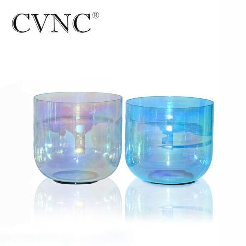 "432Hz 2 pcs 7"" G 7""F Blue & Grey Cosmic Light Clear Crystal Singing Bowl Set"