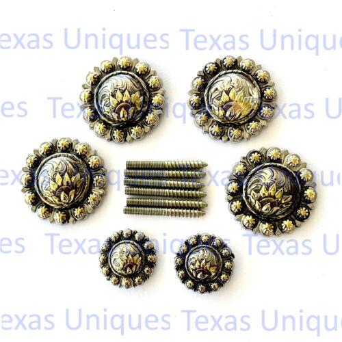 Tri-color Sunflower Berry Concho Saddle Set  CON430-D-SD-SET