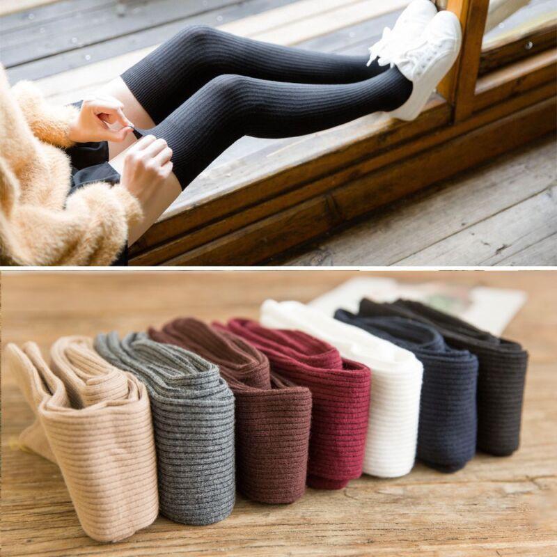 Damen Frauen warme Oberschenkel hoch über die KNIE Socken lange Baumwollstrümpfe