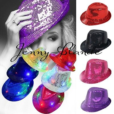 Kids Adult Glitter Sequin Fedora Trilby Cap Dance Jazz Hat Gangster Club - Hat Dance Kostüm
