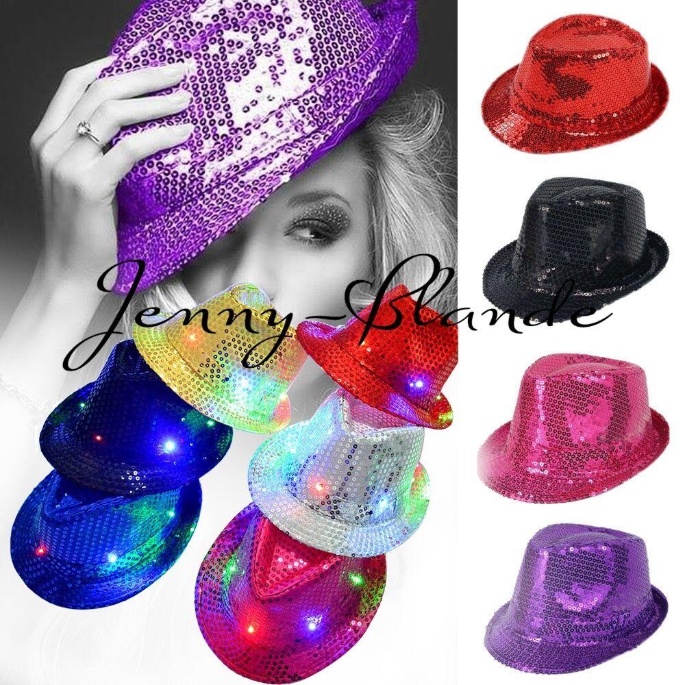 Kids Adult Glitter Sequin Fedora Trilby Cap Dance Jazz Hat Gangster Club Costume