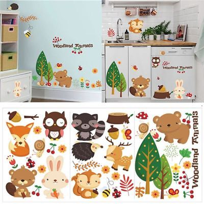 Jungle Animal Mural (Baby Mural Nursery Jungle Wall Stickers Cartoon Animal Home Decor DIY Art Decal )