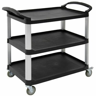 Hubert Open Sided Utility Cart With 3 Shelves Black Plastic - 38 12l X 20