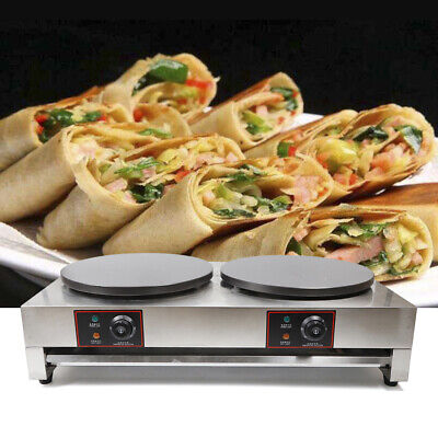 Commercial Double Electric Crepe Maker -nonstick Pancake Pan Griddle Machine 6kw