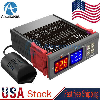 Stc-3028 Ac110v-220v Digital Temperature Humidity Controller Thermostat Probe