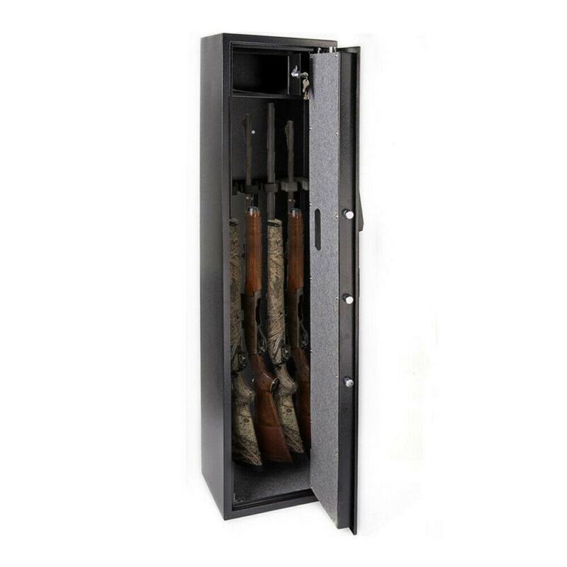 5 Gun Rifle Shotgun Pistol Electronic Lock Storage Safe Cabinet Firearm Durable