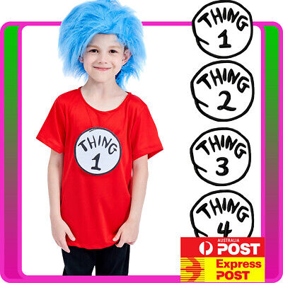Child Thing 1 Thing 2 Costume Dr Seuss Cat In The Hat Book Week Kids TShirt Wig - Thing 1 Costume Baby