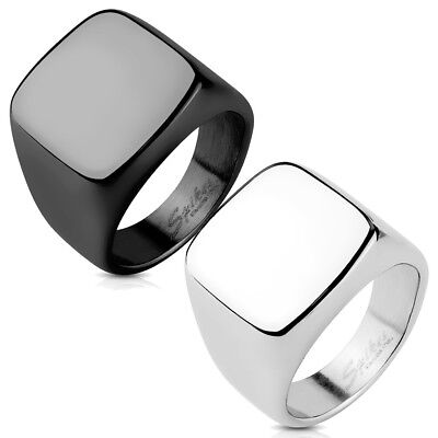 Stainless Steel Square Flat Face Large Ring Size 9-13 (Engraving Avail.)