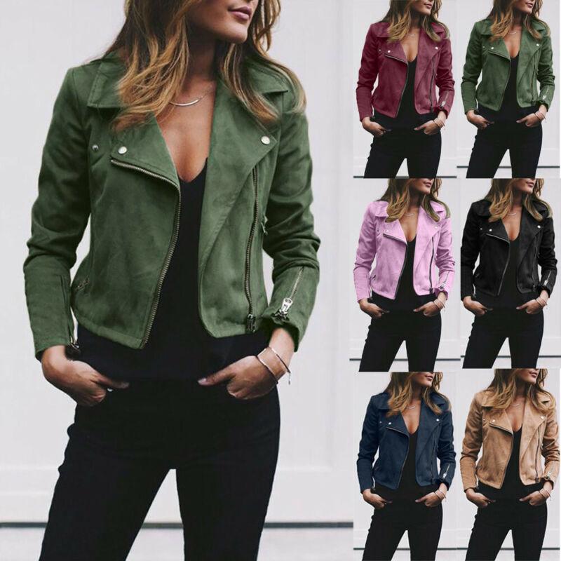 Women Faux Leather Biker Jacket Rivet Zipper Up Bomber Jacke