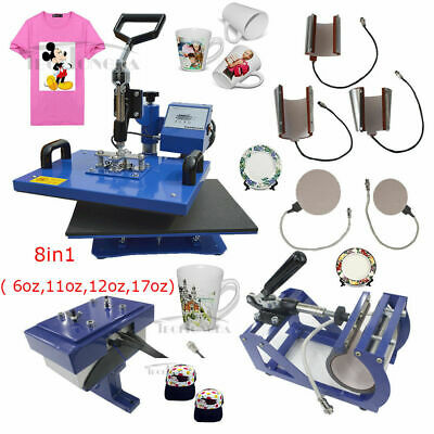 Used 8in1 Sublimation Heat Press Transfer Machine Mug Plate Cap Hat T-shirts