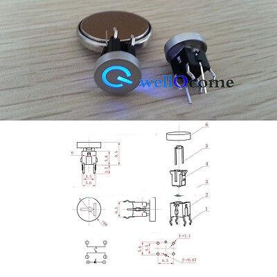 5pcs Blue LED 10mm Cap Power 12V 50mA Momentary Tact Push Button Switch