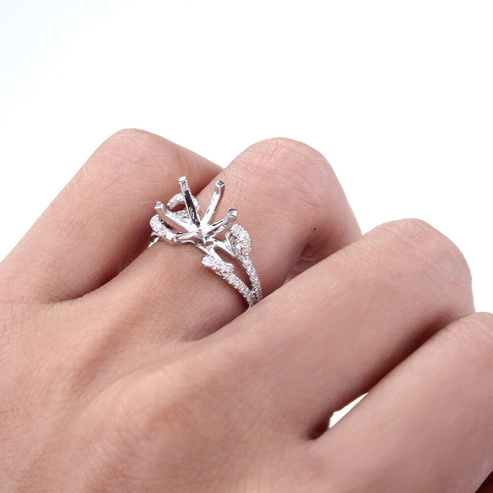 JEWERLY STYLISH SEMI MOUNT ENGAGEMENT WEDDING FINE RING ROUND 9MM ...