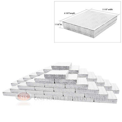 Large 50 Silver Foil Cotton Filled Jewelry Gift Boxes 6 18 X 5 18 X 1 18h