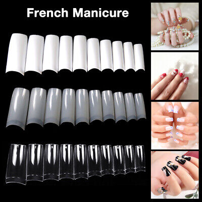 - 500pcs Natural/Clear/White False Half Nail Tips Acrylic UV Gel French Art Tool