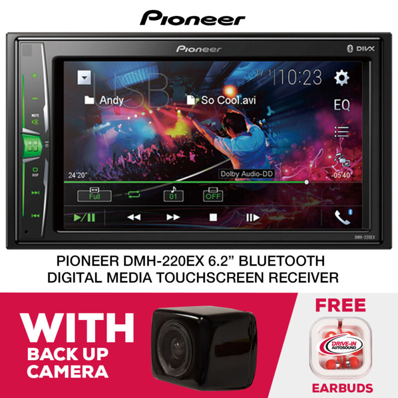 """Pioneer DMH-220EX 6.2"""" Mechless Digital Multimedia Receiver with Backup Camera"""
