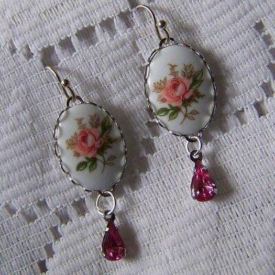 Handmade Pink Rose Limoges Cameo Earrings Victorian Pink Rose - Pink Cameo Earrings