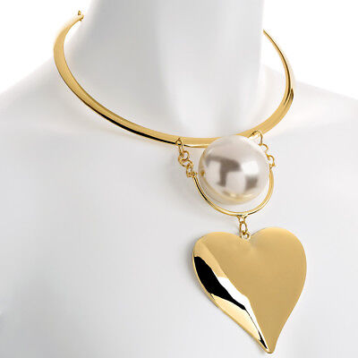 (Large oversized heart pendant faux pearl gold colour collar necklace jewellery)