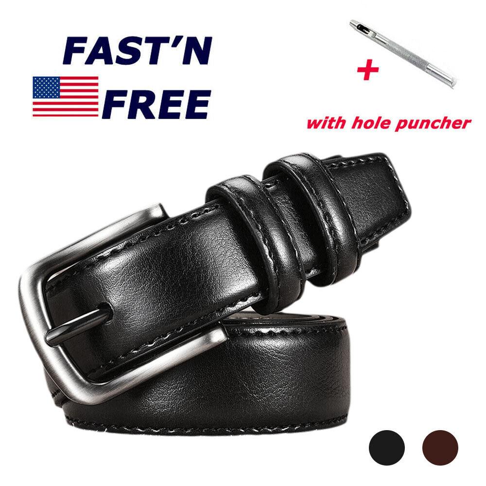 "Men Genuine Leather Belts Black Brown Size 32""-40"" 1.3""Wide Jeans Belt Belts"