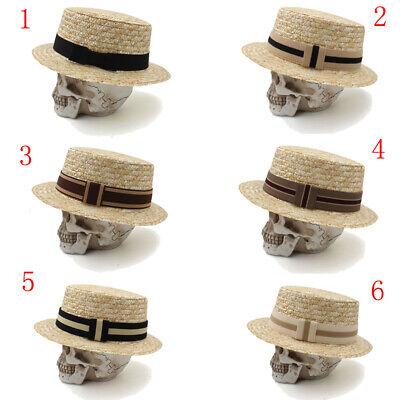 Men Women Hard Straw Flat Top Hats Sailor Caps Boater Sunhat Pork Pie - Flat Top Hat
