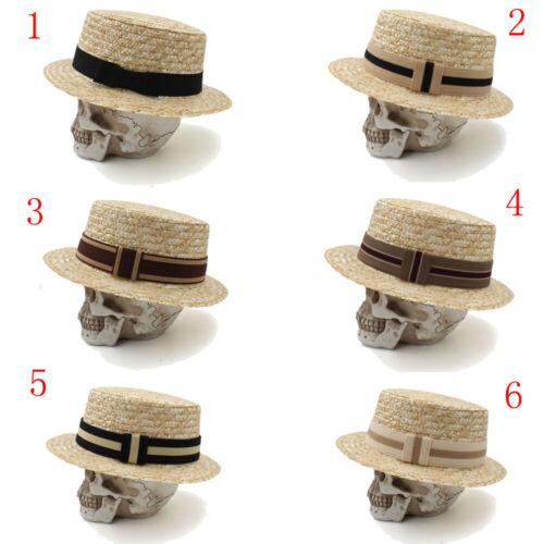 Men Women Hard Straw Flat Top Hats Sailor Caps Boater Sunhat