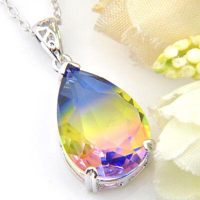 Teardrop Huge Rainbow Mystic Fire Topaz Gemstone Silver Necklace Pendant New (Mystic Fire Topaz Necklace)