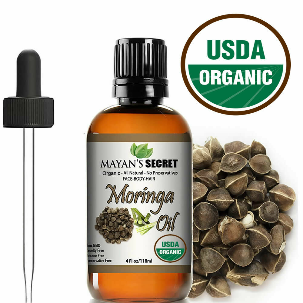 Moringa Oil 100% Pure Virgin  Cold Pressed  l, Anti-Aging, 4 fl.oz. USDA Organic Anti-Aging Products
