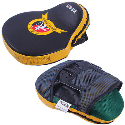 Muay Thai MMA Boxing Kick Punch Pads Hand Target Focus Training Mitts Yellow