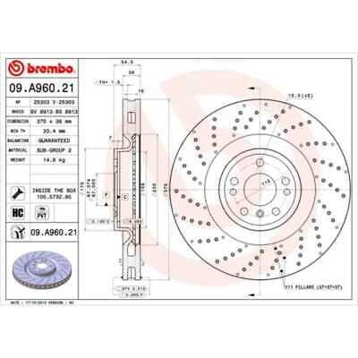 BREMBO 2x Bremsscheiben Gelocht/innenbel. beschichtet 09.A960.21